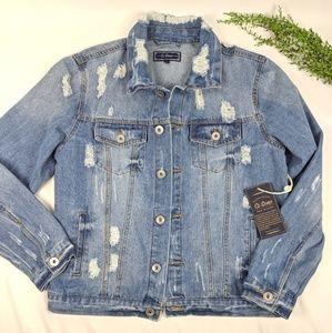NWT Distressed Oversized Jean Jacket